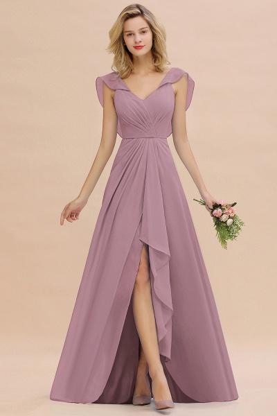BM0777 Simple Hi-Lo V-Neck Ruffles Long Bridesmaid Dress_43