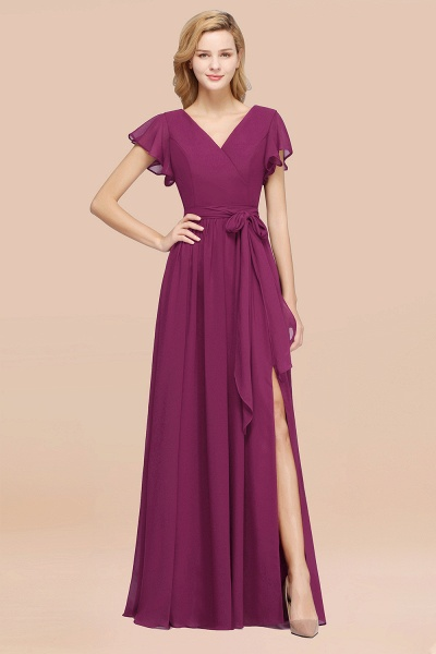 elegant A-line Chiffon V-Neck Short-Sleeves Floor-Length Bridesmaid Dresses with Bow Sash_42