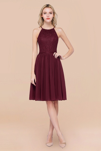 A-line Chiffon Lace Jewel Sleeveless Knee-Length Bridesmaid Dresses with Ruffles_10