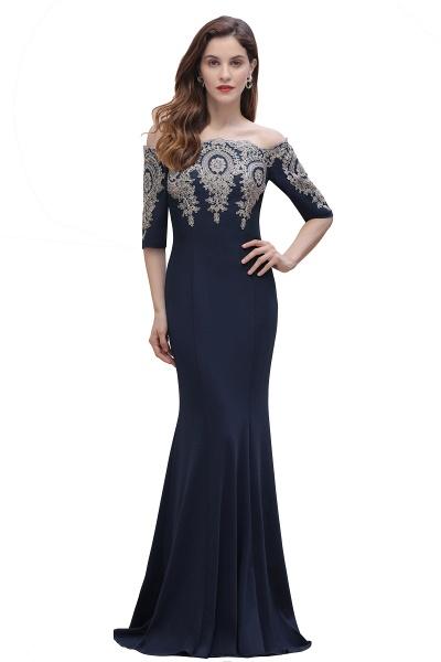 Mermaid Off-Shoulder Chiffon Lace Half Sleeve Evening Dress_4
