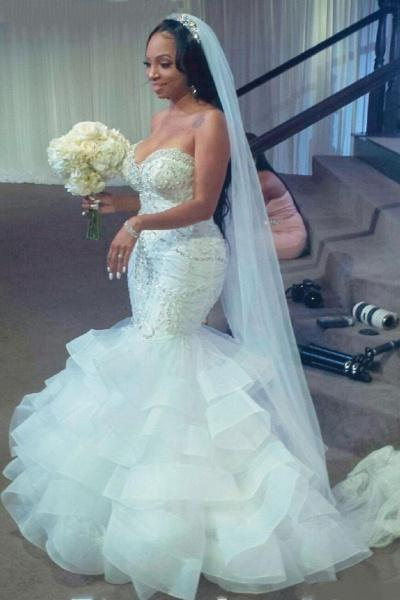 Luxury Strapless Ruffles Beaded Crystal Mermaid Wedding Dress_3