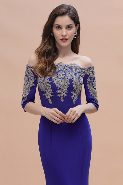 Mermaid Off-Shoulder Chiffon Lace Half Sleeve Evening Dress