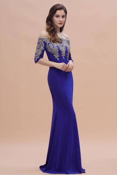 Mermaid Off-Shoulder Chiffon Lace Half Sleeve Evening Dress_9
