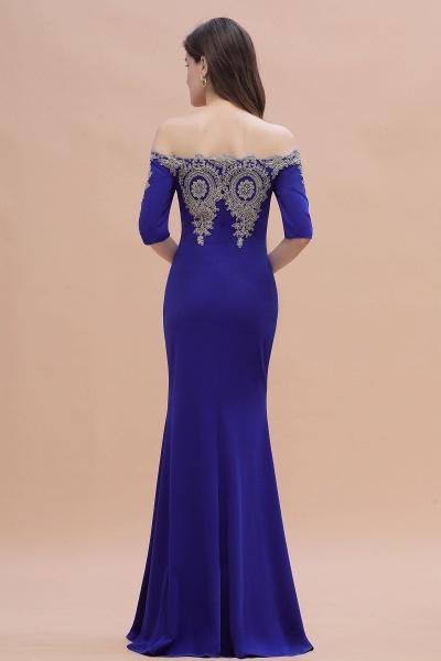 Mermaid Off-Shoulder Chiffon Lace Half Sleeve Evening Dress_12