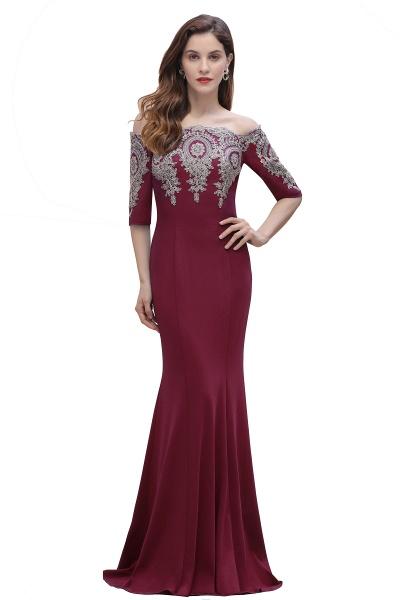 Mermaid Off-Shoulder Chiffon Lace Half Sleeve Evening Dress_1