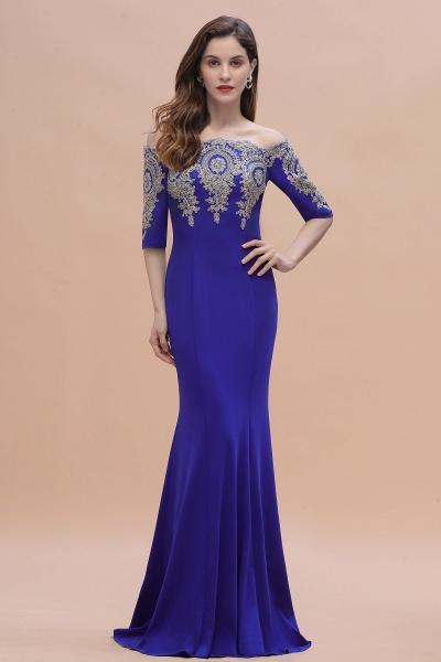 Mermaid Off-Shoulder Chiffon Lace Half Sleeve Evening Dress_6