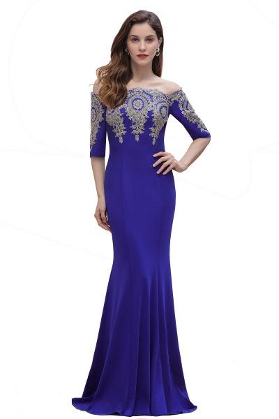 Mermaid Off-Shoulder Chiffon Lace Half Sleeve Evening Dress_3