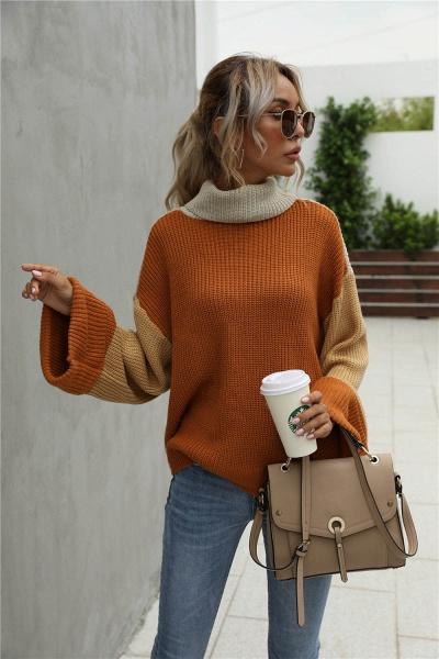 Sd1901 Black Black Turtleneck Sweater For Women_5