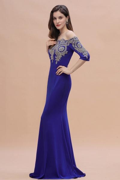 Mermaid Off-Shoulder Chiffon Lace Half Sleeve Evening Dress_10