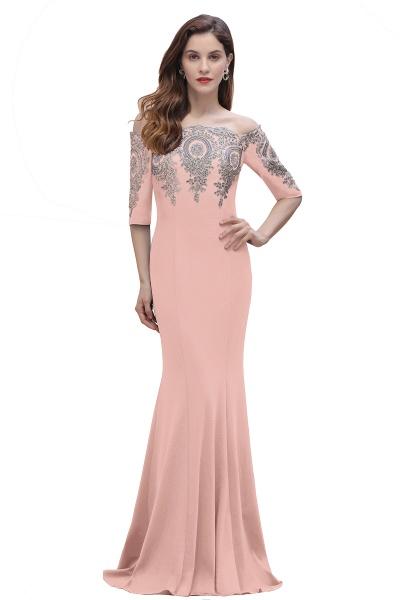 Mermaid Off-Shoulder Chiffon Lace Half Sleeve Evening Dress_2