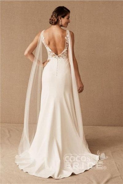 SD0224 Straps V-neck Lace Tulle Boho Mermaid Wedding Dress_2