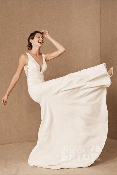 SD0224 Straps V-neck Lace Tulle Boho Mermaid Wedding Dress_3