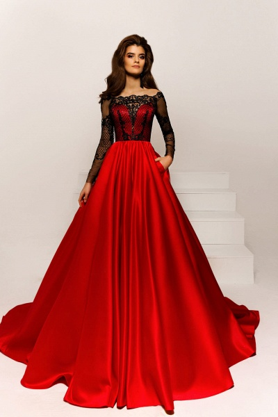 SD1923 Off The Shoulder Appliques A-line Prom Dress