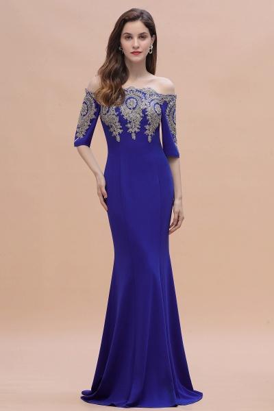 Mermaid Off-Shoulder Chiffon Lace Half Sleeve Evening Dress_8