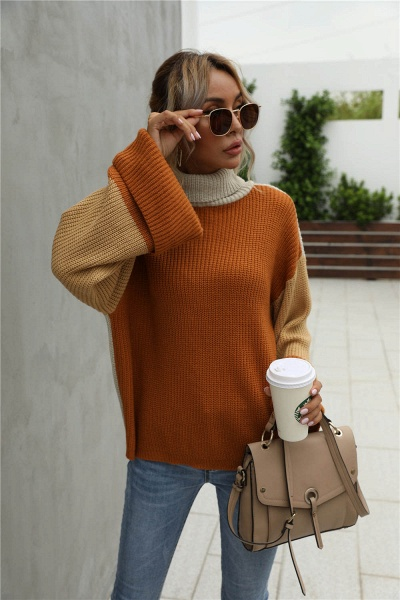 Sd1901 Black Black Turtleneck Sweater For Women_1