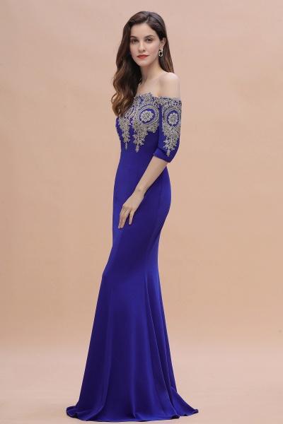 Mermaid Off-Shoulder Chiffon Lace Half Sleeve Evening Dress_11