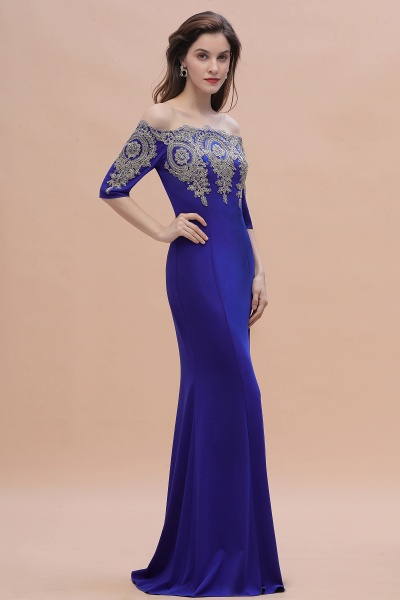 Mermaid Off-Shoulder Chiffon Lace Half Sleeve Evening Dress_7