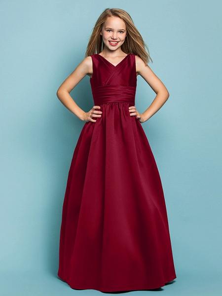Princess / A-Line V Neck Floor Length Satin Junior Bridesmaid Dress With Sash / Ribbon / Criss Cross / Spring / Summer / Fall / Apple / Hourglass_14