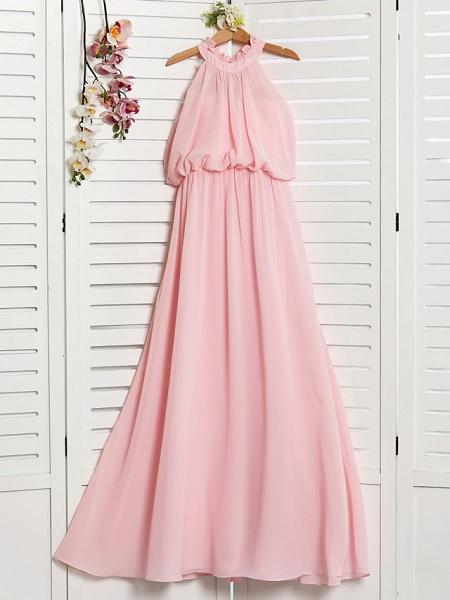 A-Line High Neck Floor Length Chiffon Junior Bridesmaid Dress With Ruffles / Ruching_1