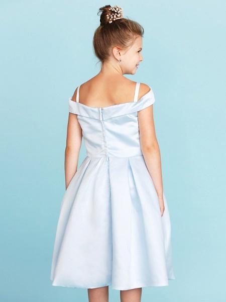 Princess / A-Line Off Shoulder Tea Length Satin Junior Bridesmaid Dress With Pleats_7