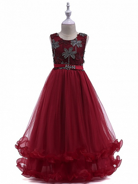 Princess Long Length Wedding / Party / Pageant Flower Girl Dresses - Lace / Tulle Sleeveless Jewel Neck With Crystals / Embroidery_1