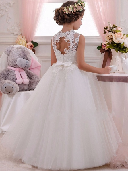 Princess Maxi Wedding / Birthday / First Communion Flower Girl Dresses - Lace / Tulle / Cotton Sleeveless Scalloped Neckline With Lace / Appliques / Crystals / Rhinestones_2