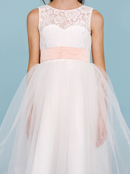 Princess / A-Line Crew Neck Tea Length Lace / Tulle Junior Bridesmaid Dress With Sash / Ribbon / Pleats / Wedding Party / Open Back / See Through_8