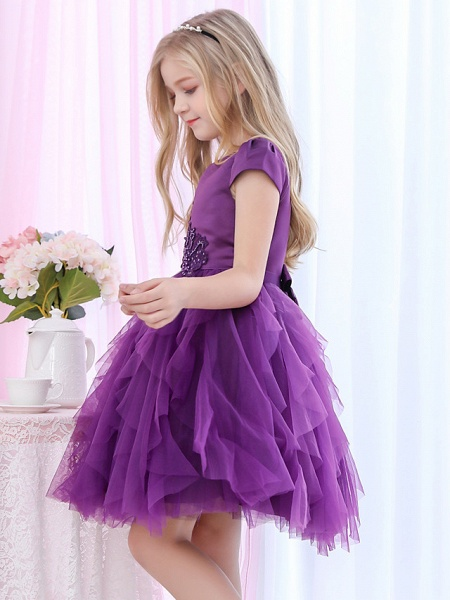 Princess / Ball Gown Royal Length Train / Medium Length Wedding / Event / Party Flower Girl Dresses - Satin / Tulle Cap Sleeve Jewel Neck With Beading / Appliques / Tiered_7