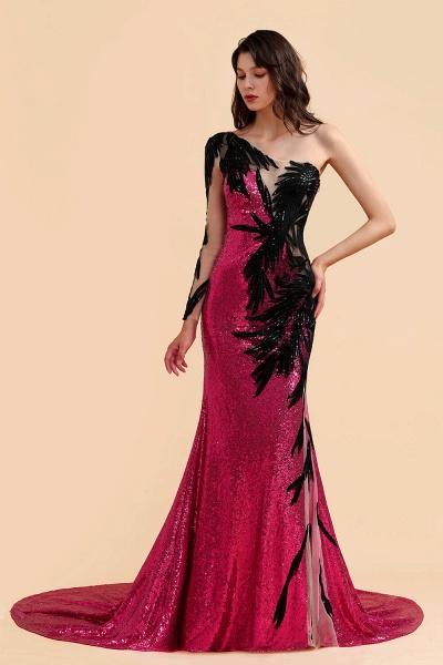 Mermaid Sequins One Sleeve Side Split Prom Dress_3