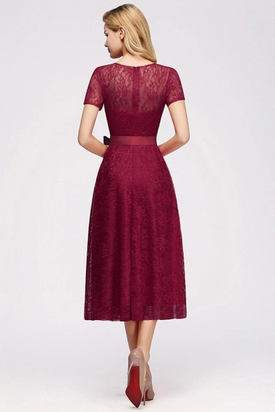 Short Sleeves V-neck Lace Dresses with Bow Sash_6