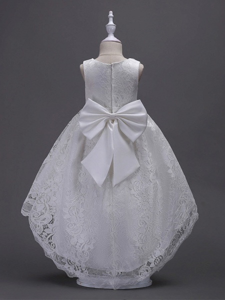 Princess Midi / Asymmetrical Wedding / First Communion / Birthday Flower Girl Dresses - Lace Sleeveless V Wire With Lace / Bow(S) / Embroidery_2