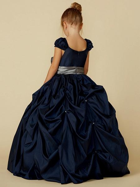 Ball Gown Floor Length Pageant Flower Girl Dresses - Taffeta Short Sleeve Scoop Neck With Belt / Bow(S)_2