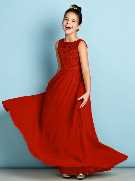 A-Line Scoop Neck Floor Length Chiffon / Lace Junior Bridesmaid Dress With Lace / Natural / Mini Me_15