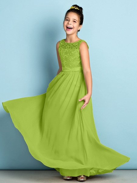 A-Line Scoop Neck Floor Length Chiffon / Lace Junior Bridesmaid Dress With Lace / Natural / Mini Me_29