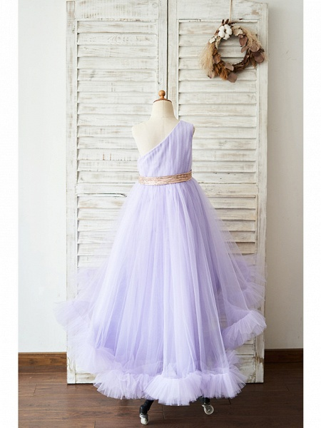 Ball Gown Asymmetrical Wedding / Birthday Flower Girl Dresses - Tulle Sleeveless One Shoulder With Belt_2