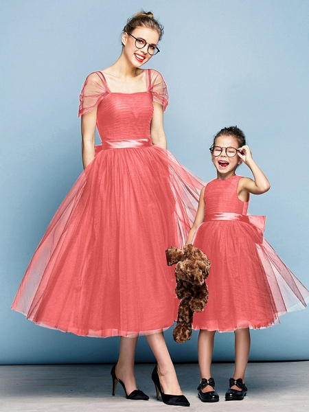 Princess Tea Length Party / Prom / Formal Evening Flower Girl Dresses - Tulle Short Sleeve Square Neck With Bow(S) / Ruched / Elegant_13