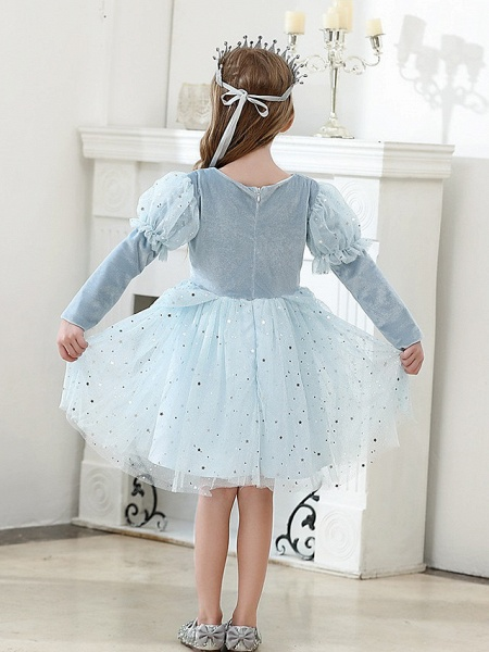Princess / Ball Gown Knee Length Wedding / Party Flower Girl Dresses - Tulle Long Sleeve Jewel Neck With Crystals / Paillette_2