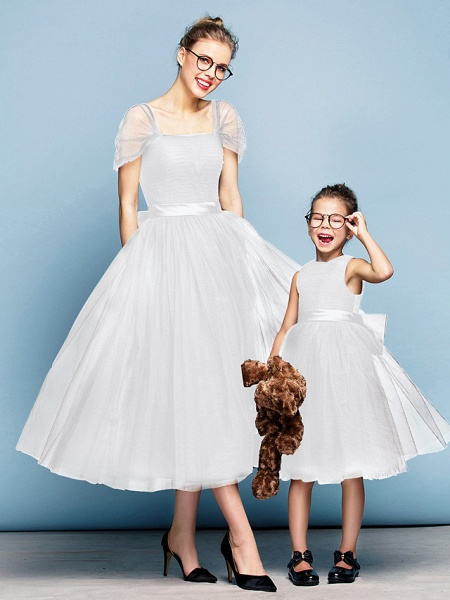 Princess Tea Length Party / Prom / Formal Evening Flower Girl Dresses - Tulle Short Sleeve Square Neck With Bow(S) / Ruched / Elegant_19