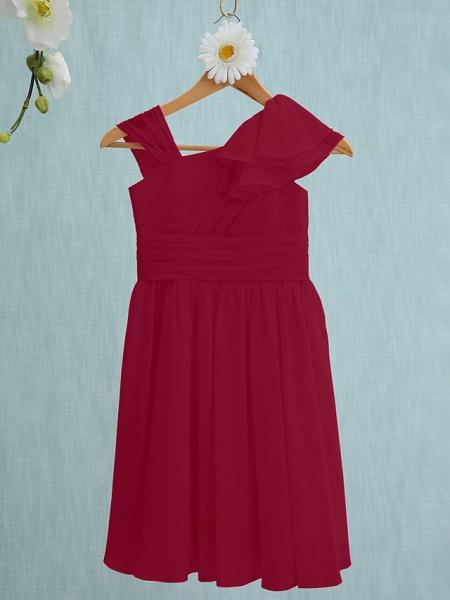 Sheath / Column Straps Knee Length Chiffon Junior Bridesmaid Dress With Ruffles / Side Draping / Natural_14