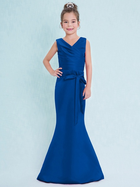 Mermaid / Trumpet V Neck Floor Length Satin Junior Bridesmaid Dress With Criss Cross / Natural_35