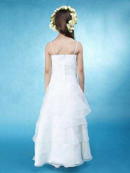 Princess / A-Line Spaghetti Strap Floor Length Organza / Satin Junior Bridesmaid Dress With Side Draping / Spring / Summer / Fall / Wedding Party / Natural_5