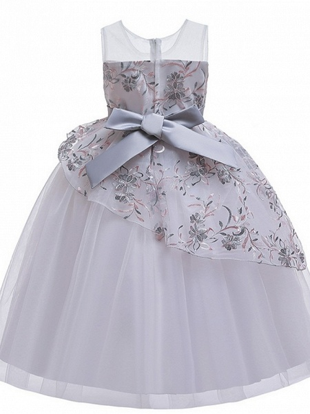 Princess / Ball Gown Floor Length Wedding / Party Flower Girl Dresses - Tulle Sleeveless Illusion Neck With Sash / Ribbon / Bow(S) / Embroidery_6
