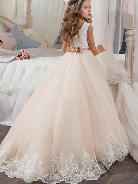 Ball Gown Floor Length Wedding / Party Flower Girl Dresses - Tulle Sleeveless Jewel Neck With Ruching_2