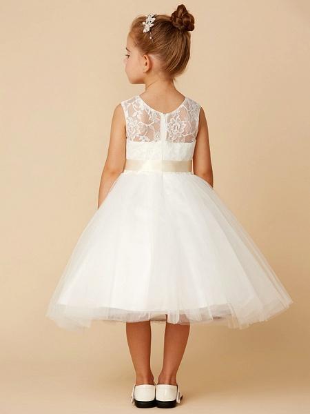 Princess Tea Length Wedding / First Communion Flower Girl Dresses - Lace / Tulle Sleeveless Jewel Neck With Sash / Ribbon / Bow(S)_2