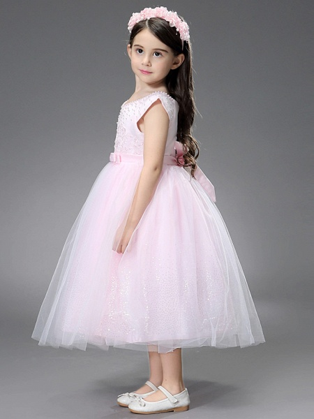 Princess / Ball Gown Ankle Length / Royal Length Train Wedding / Event / Party Flower Girl Dresses - Satin / Tulle Sleeveless Square Neck With Beading / Ruffles / Appliques_5
