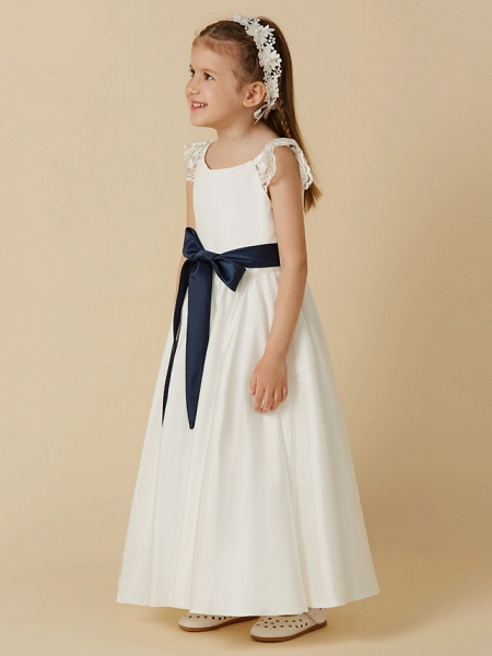 A-Line Ankle Length Wedding / First Communion Flower Girl Dresses - Taffeta Short Sleeve Scoop Neck With Sash / Ribbon / Bow(S)_3
