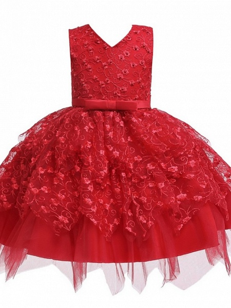 Princess / Ball Gown Mini Wedding / Party Flower Girl Dresses - Tulle Sleeveless V Neck With Sash / Ribbon / Bow(S) / Appliques_8