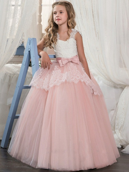 Princess Floor Length Wedding / Party / Pageant Flower Girl Dresses - Lace / Tulle / Mikado Sleeveless Square Neck With Bow(S) / Splicing_1