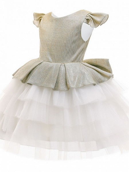 Princess / Ball Gown Knee Length Wedding / Party Flower Girl Dresses - Tulle / Mikado Cap Sleeve Jewel Neck With Bow(S) / Tier_2