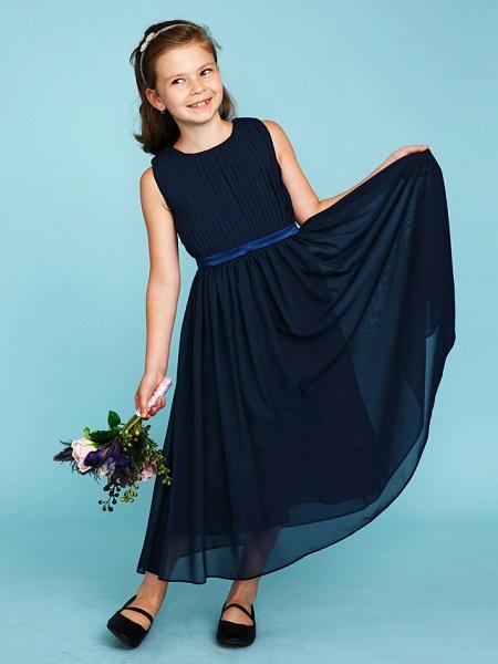 Princess / A-Line Crew Neck Tea Length Chiffon Junior Bridesmaid Dress With Sash / Ribbon / Draping / Wedding Party_4